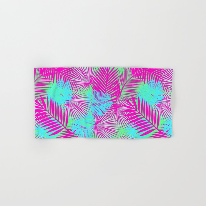 Neon Pink & Blue Tropical Print Hand & Bath Towel
