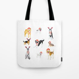 Watercolour Cute Funny Christmas Dogs Tote Bag