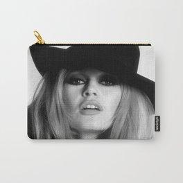 Brigitte Bardot Wearing Black Hat, Retro Fashion Art Carry-All Pouch
