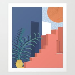 A Mediterranean view with plants and sun Art Print