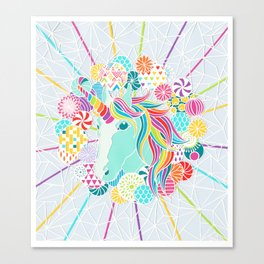 Laser Beam Rainbow Unicorn Papercut Canvas Print