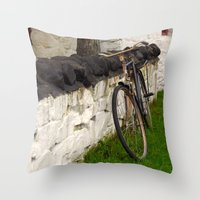 cycle Throw Pillows featuring Cycle by Sarah Ridings