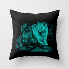 Wolf and Raven in the Night Throw Pillow