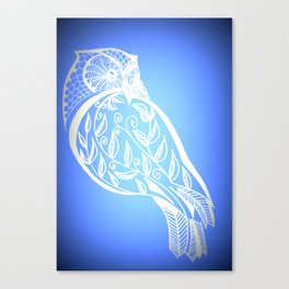 Owl with blue and white patterns Canvas Print