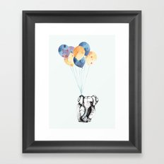 Elephant & Balloons! Framed Art Print