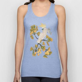 Cockatoo and Ginkgo Tree Unisex Tank Top