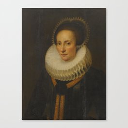 Cornelis van der Voort A Portrait Of a Lady In a White Ruff And Lace Headress Canvas Print