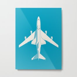 Space Shuttle Spacecraft and 747 Transport Jet - Cyan Metal Print