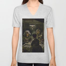 1885-Vincent van Gogh-The potato eaters Unisex V-Neck