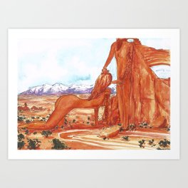Arches National Park - Erotic Nature Couple Painting Art Print