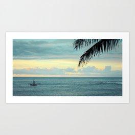 Waimea at Sunset - Hawaii Seascapes #5 - Aikau & Hokulea Art Print