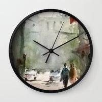 street Wall Clocks featuring Street by Baris erdem