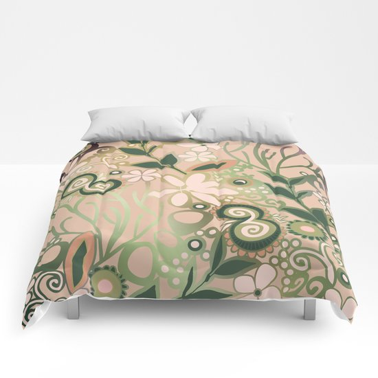 Detailed square of peach and green floral tangle Comforters