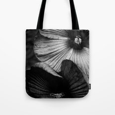 Dramatic Black and White Hibiscus Flowers Macro Tote Bag