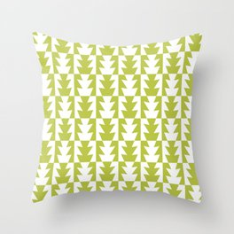 Art Deco Jagged Edge Pattern Chartreuse Throw Pillow