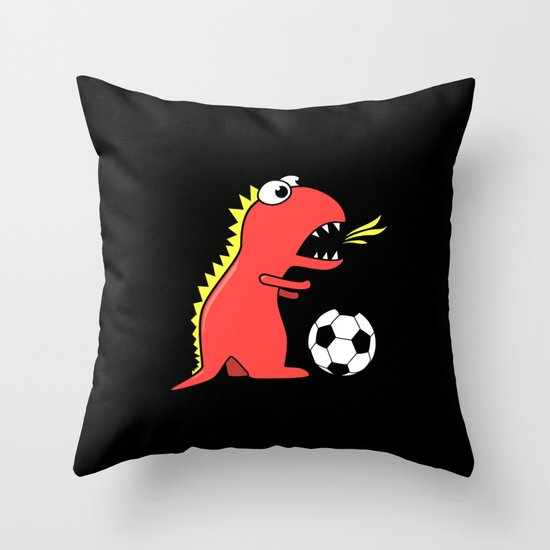 Black Cartoon Dinosaur Soccer Throw Pillow