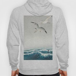 Seagulls over a stormy sea - Vintage Japanese Woodblock Print Art Hoody