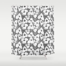 Puya Flowers Floral Pattern Greyscale Shower Curtain