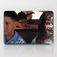 three of the possessed iPad Cases featuring POSSESSED REGAN IN FORREST GUMP by Luigi Tarini