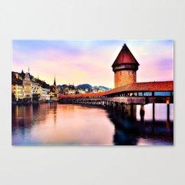 Lucerne, Switzerland Chapel Covered Bridge Canvas Print