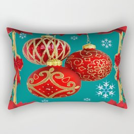 TEAL COLOR RED CHRISTMAS  ORNAMENTS &  POINSETTIAS FLOWER Rectangular Pillow