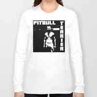 pitbull Long Sleeve T-shirts featuring Zef Pitbull by Jera Sky