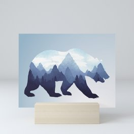 Bear Double Exposure Surreal Wildlife Animal Grizzly Wilderness Outdoors Mini Art Print