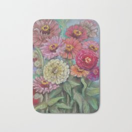 Autumn FLOWERS in the garden Still Life Pastel drawing Pink Purple Decorative Painting Bath Mat
