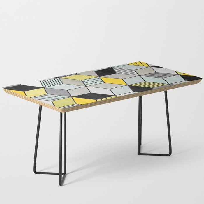 Colorful Concrete Cubes 2 Yellow Blue Grey Coffee Table By Zoltanratko