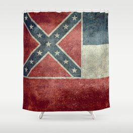 Mississippi State Flag - Distressed version Shower Curtain