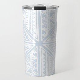 Simply Tribal Tile in Sky Blue on Lunar Gray Travel Mug