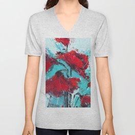 Red Poppies Blue Sky Unisex V-Neck