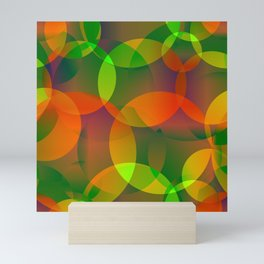Abstract soap of blue and green bright circles and bubbles on a luminous background. Mini Art Print