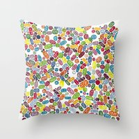 pills Throw Pillows featuring Pills by Eleacuareling