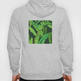 Green Jungle Tropical Leaves Pattern Hoody