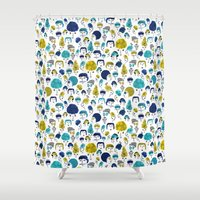 faces Shower Curtains featuring Faces by Sahily Tallet Yip