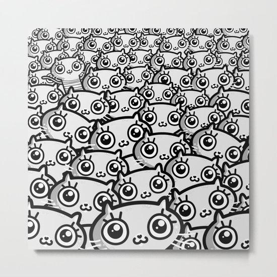Crazy Cat Lady Dreams (in b/w) Metal Print