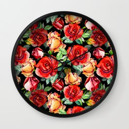 Hand painted black red watercolor roses floral Wall Clock