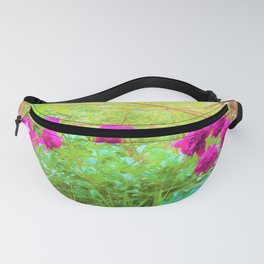 Impressionistic Purple Peonies with Green Hostas Fanny Pack