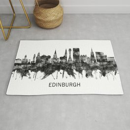 Edinburgh Scotland Skyline BW Rug