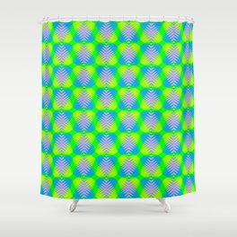 Triangular pattern of blue and purple hearts from stripes on a heavenly background in a bright inter Shower Curtain