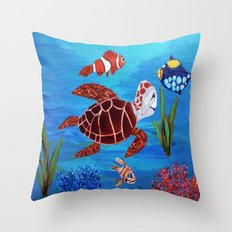 Swimming in the sea  Throw Pillow