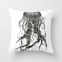 jellyfish Throw Pillows featuring Jellyfish by Aubree Eisenwinter