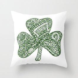 Shamrock Doodle Throw Pillow