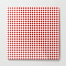 Christmas gingham pattern red and green cute gifts home decor for the holidays Metal Print