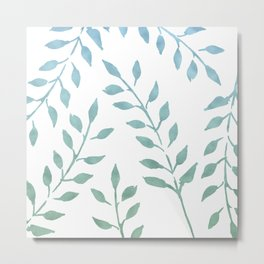 Blue and Green Fronds Metal Print