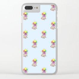Pug dog in a clown costume pattern Clear iPhone Case