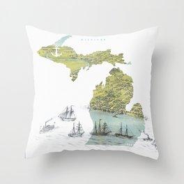 Ships Along the Shore - Michigan circa 1868 Throw Pillow