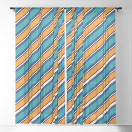TEAM COLORS 1…Teal navy white and orange stripe Sheer Curtain