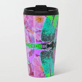 EMERALD DRAGONFLIES  PINK ROSES AVOCADO COLOR Travel Mug
